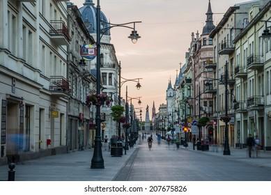 LODZ, POLAND - JULY 13, 2014: Sunday afternoon on Piotrkowska Street