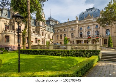 Lodz, Poland- July 15, 2017: Izrael Poznanski's Palace is a 19th-century palace in Lodz, Poland. Tenement building, it was transformed into a Neo-Renaissance and Neo-baroque style residence.