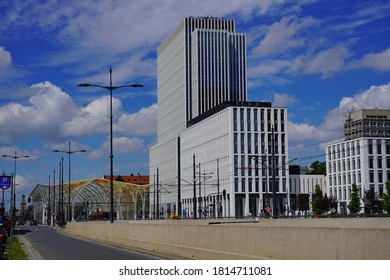 LODZ, POLAND, JULY 2020:. Architecture in the center of lodz. Offices, shopping centers and banks. Pilsudskiego street.