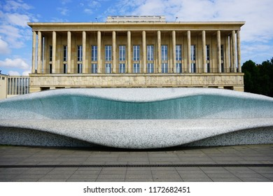 LODZ, POLAND JULY 26 2018; Grand Theatre and fountain in Lodz, Poland