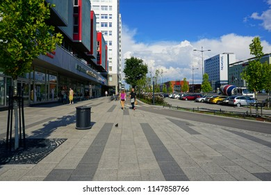 LODZ, POLAND, JULY, 27 2018: Avenue of Marshal Józef Pilsudski in Lodz. Architecture in the center of lodz. Office and residential buildings. A new route connecting the two ends of the city of Lodz