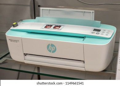 Lodz, Poland, July 28, 2018 inside RTV EURO AGD electronic store, HP DeskJet Ink Advantage 3785 printer on display, Print Copy Scan Web, produced by Hewlett-Packard Company commonly referred to as HP