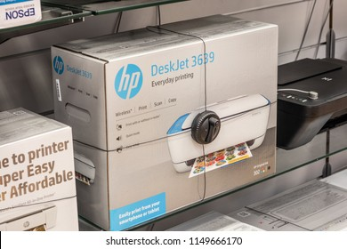 Lodz, Poland, July 28, 2018 inside RTV EURO AGD electronic store, HP DeskJet 3639 printer on display for sale, Print Copy Scan Wireless, produced by Hewlett-Packard Company commonly referred HP
