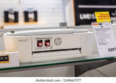 Lodz, Poland, July 28, 2018 inside RTV EURO AGD electronic store, HP DeskJet Ink Advantage 3775 printer on display for sale, Print Copy Scan Web, produced by Hewlett-Packard Company named HP