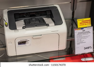 Lodz, Poland, July 28, 2018 inside RTV EURO AGD electronic store, HP LaserJet Pro M12w printer on display for sale, produced by HP