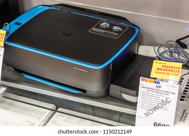 Lodz, Poland, July 28, 2018 inside RTV EURO AGD electronic store, HP Ink Tank 419 wireless printer on display for sale, Print Copy Scan Web, produced by HP