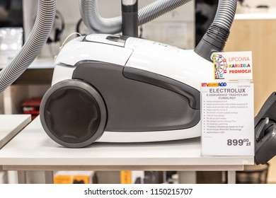 Lodz, Poland, July 28, 2018 inside RTV EURO AGD electronic store, Electrolux EUS8ALRGY Silent Air vacuum cleaner, Allergy Care, produced by Electrolux AB Swedish home appliance manufacturer