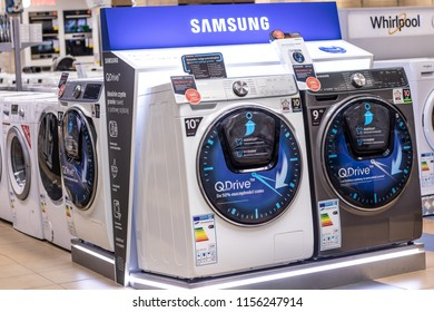 Lodz, Poland, July 28, 2018 inside RTV EURO AGD electronic store, free-standing Samsung EcoBubble washing machines on display for sale with AddWash, QDrive, Digital Inverter, produced by Samsung