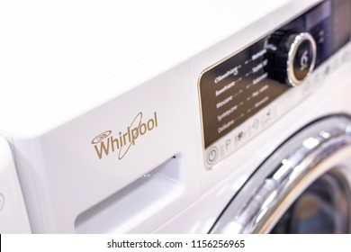 Lodz, Poland, July 28, 2018 inside RTV EURO AGD electronic store, free-standing Whirlpool washing machine on display for sale, FSCR80421 produced by Whirlpool Co American manufacturer