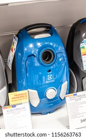 Lodz, Poland, July 28, 2018 inside RTV EURO AGD electronic store, Electrolux EEG41CB vacuum cleaner on display or sale, produced by Electrolux AB Swedish home appliance manufacturer