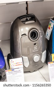 Lodz, Poland, July 28, 2018 inside RTV EURO AGD electronic store, Electrolux EEG44IGM vacuum cleaner on display or sale, produced by Electrolux AB Swedish home appliance manufacturer