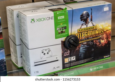 Lodz, Poland, July 28, 2018 inside RTV EURO AGD electronic store, Microsoft Xbox One on display for sale, with game Battlegrounds, Xbox One is game console from Microsoft