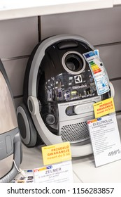 Lodz, Poland, July 28, 2018 inside RTV EURO AGD electronic store, Electrolux ECS54B vacuum cleaner on display or sale, produced by Electrolux AB Swedish home appliance manufacturer