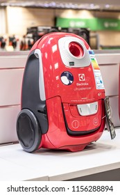 Lodz, Poland, July 28, 2018 inside RTV EURO AGD electronic store, Electrolux UltraSilencer EUS8X2RR vacuum cleaner, Allergy Care,  produced by Electrolux AB Swedish home appliance manufacturer