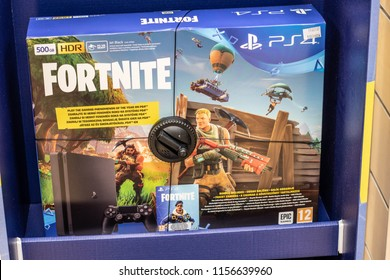 Lodz, Poland, July 28, 2018 inside RTV EURO AGD electronic store, Sony PlayStation 4 PS4 on display for sale with game Fortnite, PlayStation 4 PS4 is game console from Sony