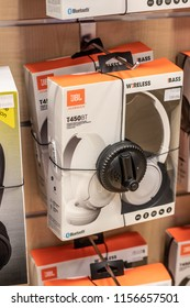 Lodz, Poland, July 28, 2018 inside RTV EURO AGD electronic store, JBL by Harman On-Ear Earphones T450BT Wireless Headset with High-definition Audio on display for sale, headphones produced by JBL