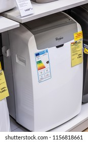 Lodz, Poland, July 28, 2018 inside RTV EURO AGD electronic store, Whirlpool PACW9COL Portable air conditioner on display for sale, produced by Whirlpool