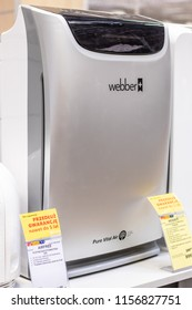 Lodz, Poland, July 28, 2018 inside RTV EURO AGD electronic store, Webber AP9405B Air Purifier capture airborne particles, pollen, allergens, dust mites, mould spores, pet dander, cigarette smoke
