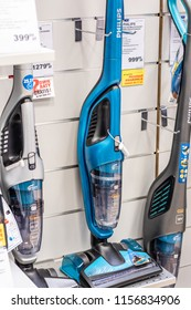 Lodz, Poland, July 28, 2018 inside RTV EURO AGD electronic store, Broom Cordless handstick Vacuum Cleaner Philips FC6404 on display for sale, Bagless, wireless, produced by Philips