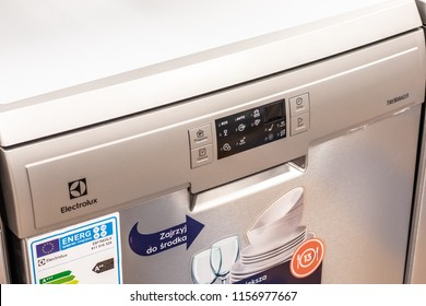 Lodz, Poland, July 28, 2018 inside RTV EURO AGD electronic store, free-standing silver Inox dishwasher Electrolux ESF75533LX on display for sale, front panel, produced by Electrolux, selective focus