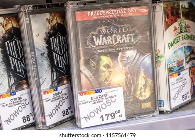 Lodz, Poland, July 28, 2018 inside RTV EURO AGD electronic store, Blizzard World of Warcraft Battle For Azeroth game on display for sale, PC edition