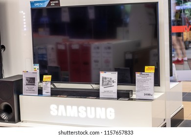 Lodz, Poland, July 28, 2018 inside RTV EURO AGD electronic store, Samsung LED 4K HDR 55inch UE55NU7102 ultra HD on display for sale, UHD Smart TV produced by Samsung