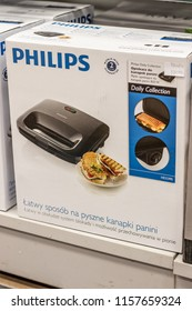 Lodz, Poland, July 28, 2018 inside RTV EURO AGD electronic store, bolx with Philips HD2395 sandwich panini maker on display for sale, produced by Philips