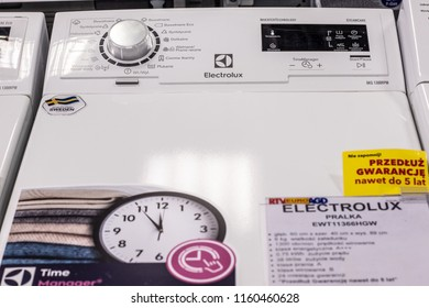 Lodz, Poland, July 28, 2018 inside RTV EURO AGD electronic store, free-standing Electrolux Top Loading Washing Machine EWT11366HGW with Energ label A+++ on display, produced by Electrolux