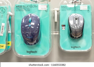 Lodz, Poland, July 28, 2018 inside RTV EURO AGD electronic store, Logitech M535 wireless mouse on display for sale, produced by Logitech, Swiss provider of personal computer, mobile accessories