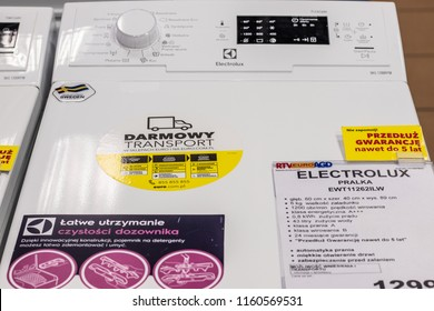 Lodz, Poland, July 28, 2018 inside RTV EURO AGD electronic store, free-standing Electrolux Top Loading Washing Machine EWT11262ILW with Energ label A+++ on display, produced by Electrolux