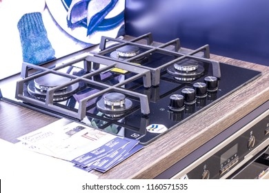 Lodz, Poland, July 28, 2018 inside RTV EURO AGD electronic store, Electrolux gas hobs on display for sale, produced by Electrolux AB Swedish multinational home appliance manufacturer