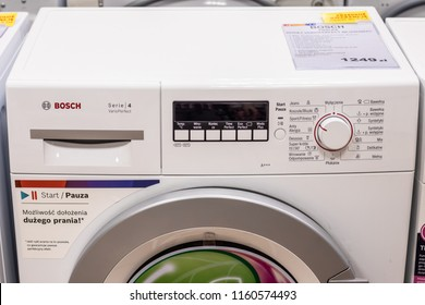 Lodz, Poland, July 28, 2018 inside RTV EURO AGD electronic store, free-standing Bosch WLG2026EPL Serie4 SlimLine FamilyLine washing machine on display VarioPerfect A+++ BSH Home Appliances