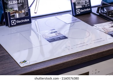 Lodz, Poland, July 28, 2018 inside RTV EURO AGD electronic store, Electrolux electric, induction hob on display for sale, produced by Electrolux AB Swedish multinational home appliance manufacturer