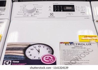 Lodz, Poland, July 28, 2018 inside RTV EURO AGD electronic store, free-standing Electrolux Top Loading Washing Machine EWT11274ELW with Energ label A+++ on display, produced by Electrolux