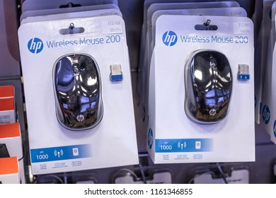 Lodz, Poland, July 28, 2018 inside RTV EURO AGD electronic store, HP 200 wireless mouse on display for sale, produced by HP provider of personal computer, mobile accessories