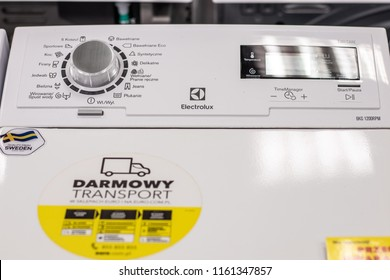 Lodz, Poland, July 28, 2018 inside RTV EURO AGD electronic store, free-standing Electrolux Top Loading Washing Machine EWT1266ESW with Energ label A+++ on display, produced by Electrolux