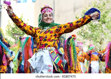 LODZ, POLAND - JULY 28: An unidentified folklore dancer from Turkey, performs during the  International Folk Festivals in Lodz, on June 28, 2011 in Lodz, Poland.