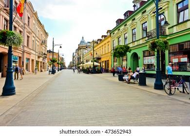 LODZ, POLAND - JULY 31: The main street Piotrkowska June 03, 2016 in Lodz, Poland.