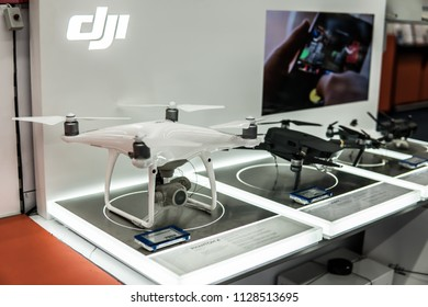 Lodz, Poland, July 5, 2018 inside Saturn electronic store, DJI Drones, Phantom Pro, Mavic, Spark, DJI is manufacturer of unmanned aerial vehicles (UAV) for aerial photography and videography.