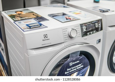 Lodz, Poland, July 5, 2018 inside Saturn electronic store, free-standing Electrolux washing machine on display, produced by Electrolux AB Swedish multinational home appliance manufacturer