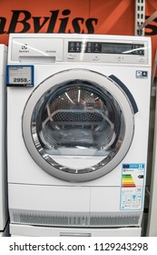 Lodz, Poland, July 6, 2018 inside Saturn electronic store, free-standing Electrolux dryer washing machine on display, produced by Electrolux AB Swedish multinational home appliance manufacturer