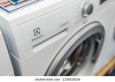 Lodz, Poland, July 9, 2018 inside Saturn electronic store, white free-standing Electrolux washing machine on display, produced by Electrolux AB Swedish multinational home appliance manufacturer