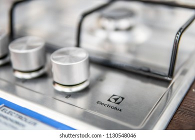 Lodz, Poland, July 9, 2018 inside Saturn electronic store, Electrolux gas hobs, produced by Electrolux AB Swedish multinational home appliance manufacturer
