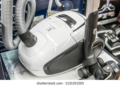 Lodz, Poland, July 9, 2018 inside Saturn electronic store, Electrolux Ultrasilencer Zen vacuum cleaner, Allergy Care,  produced by Electrolux AB Swedish multinational home appliance manufacturer