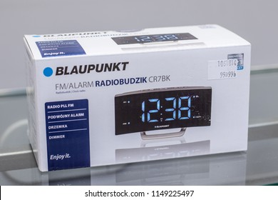 Lodz, Poland, July 9, 2018 inside RTV EURO AGD electronic store, Blaupunkt CR7BK Clock radio with alarm, large visible LCD display, dimmer, PLL FM tuner, 10 favorite station, on display for sale