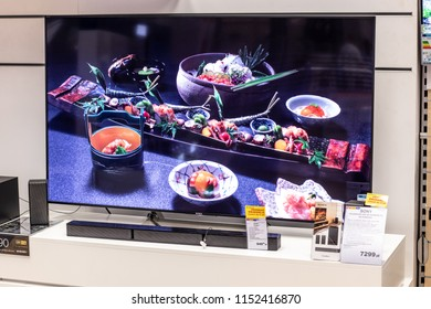 Lodz, Poland, July 9, 2018 inside RTV EURO AGD electronic store, Sony LED 4K HDR androidTV 65inch KD-65XE9005 ultra HD on display for sale, UHD Bravia TV produced by Sony