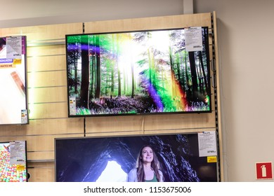 Lodz, Poland, July 9, 2018 inside RTV EURO AGD electronic store, Samsung LED 4K HDR 58inch UE58MU6192 ultra HD on display for sale, UHD Smart TV produced by Samsung