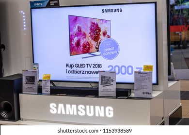 Lodz, Poland, July 9, 2018 inside RTV EURO AGD electronic store, Samsung LED 4K HDR 55inch UE55NU7102 ultra HD on display for sale, UHD Smart TV produced by Samsung