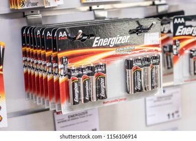 Lodz, Poland, July 9, 2018 inside RTV EURO AGD electronic store, Energizer AA Alkaline batteries on shelf for sale. Energizer is American manufacturer of batteries