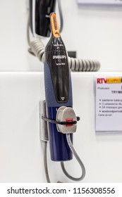 Lodz, Poland, July 9, 2018 inside RTV EURO AGD electronic store, Philips trimmer Washable Series 5000 on display for sale, produced by Philips